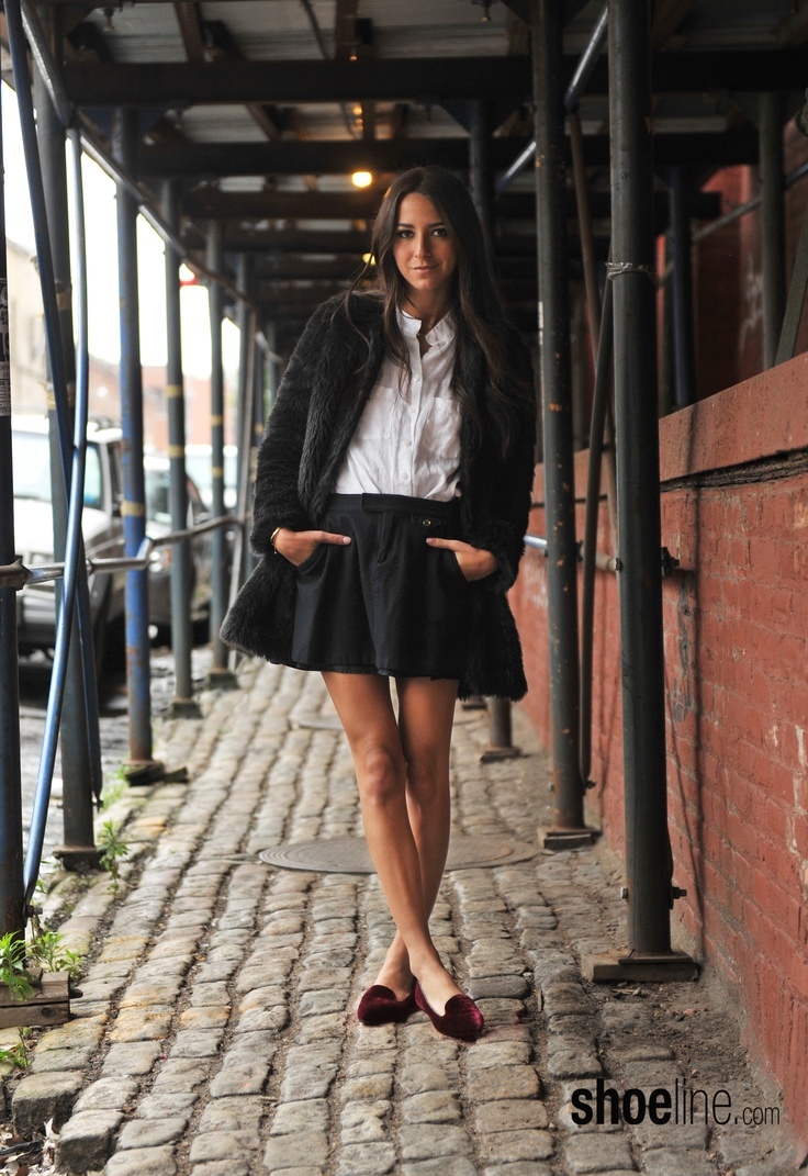 @Arielle Nachmani for Shoeline.com in the Born Samella smoking slipper = ivy league style.