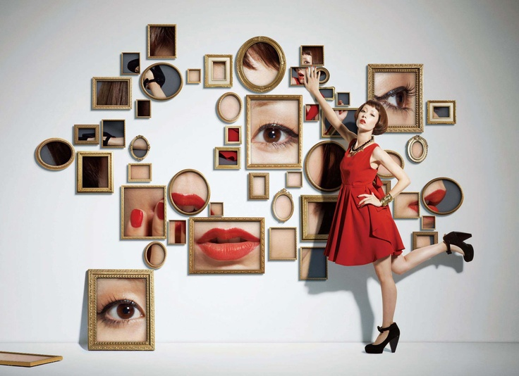 Art Direction by Yuni Yoshida--works to reinforce color story (red) or showcase Beauty/Cosmetics dept.