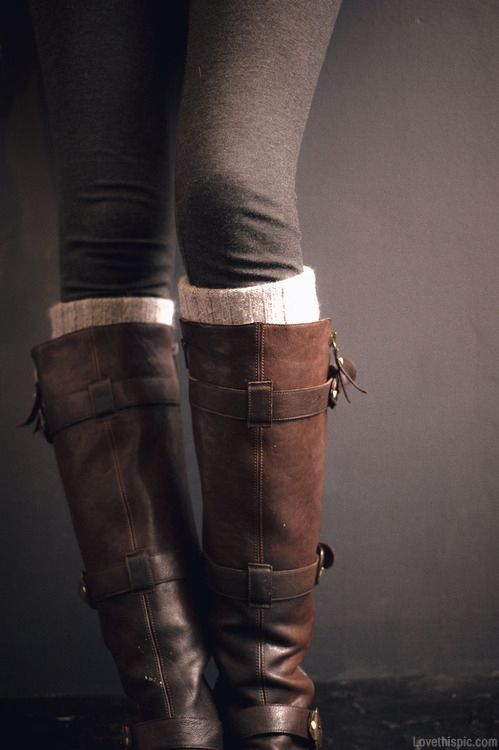 Leggings, wool socks, boots
