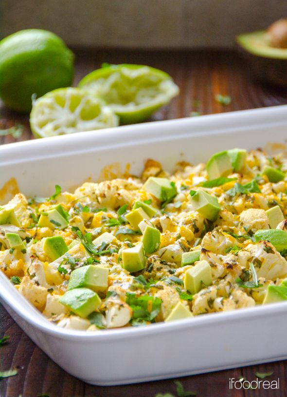 Cilantro lime cauliflower with avocado.