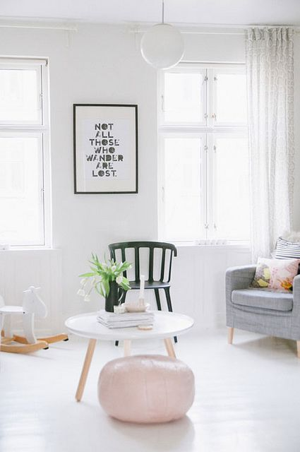 round coffee table from Hay, black white, pink | A SCANDINAVIAN HOME WITH FEMINE TOUCHES by the style files, via Flickr | image by Tina Fussell
