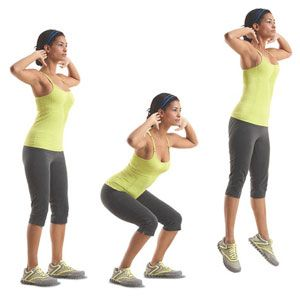 Jump Squat: Stand with your feet hip-width apart, toes forward; lightly touch your fingers behind your ears and extend your elbows to the sides. Bend your knees, then explosively jump as high as you can. Land softly on the balls of your feet and immediately lower into your next squat.