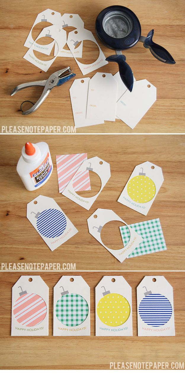 Scrap Paper Ornament Gift Tags! - These are so cute! I am going definitely going to do this for Christmas tags. What a brilliant idea and so simple!