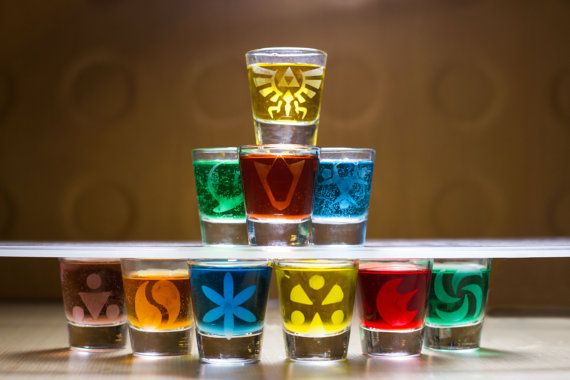 Legend of Zelda etched shot glass set of 10 fan art by CustomShot