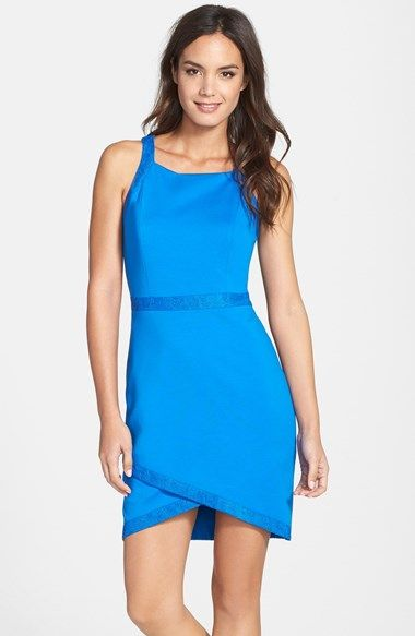 Cynthia Steffe 'Billie' Lace Trim Wrap Hem Sheath Dress