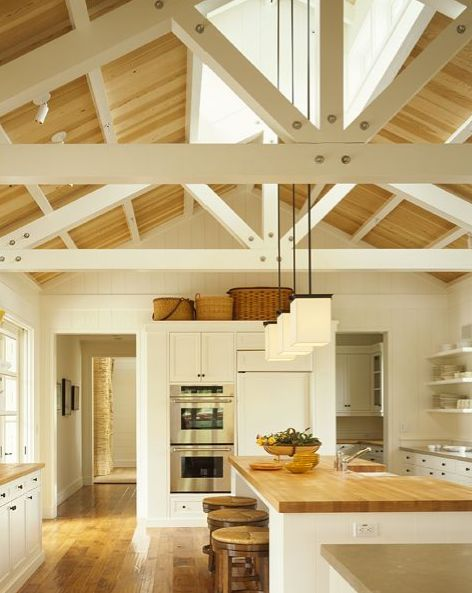 Home design inspiration- barn ceiling in the kitchen.