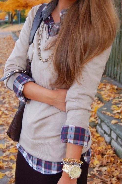 flannel under sweater