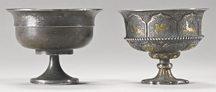 Two silver stem cups, Tang dynasty