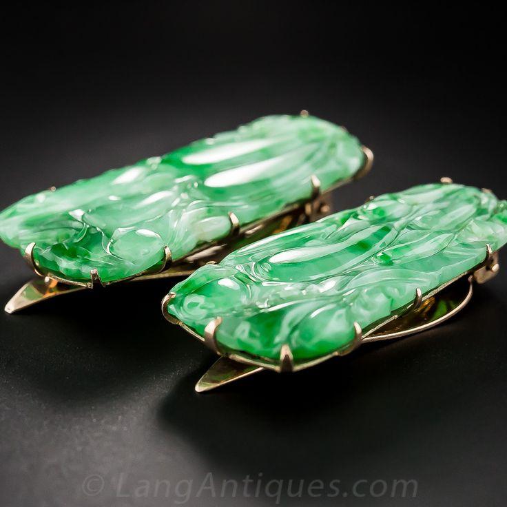 Pair of Carved Jade Clip Pins - 50-1-4661 - Lang Antiques