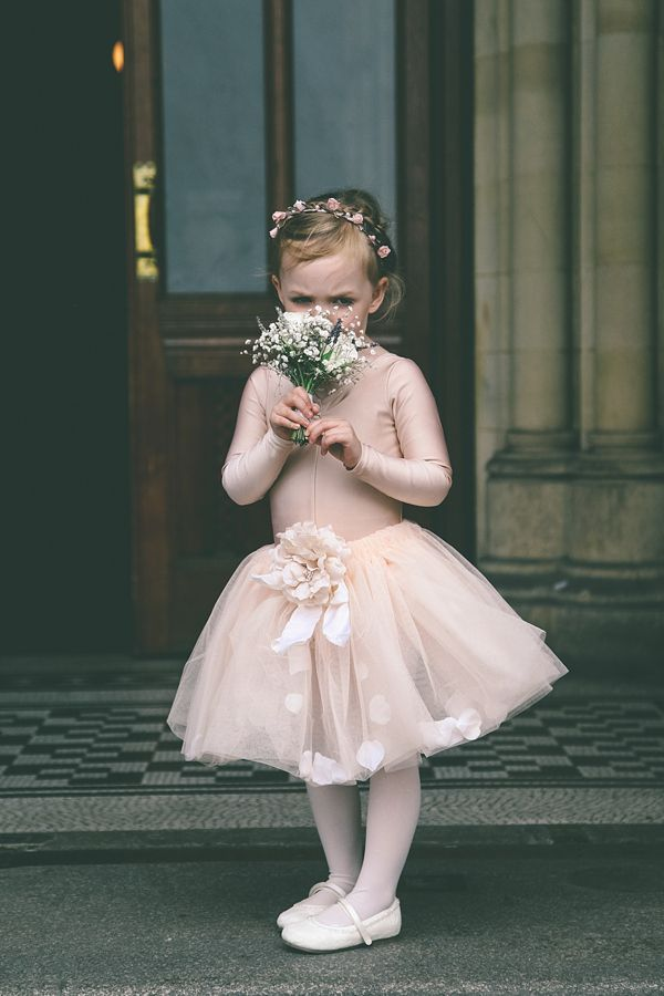 Sweet flowergirl in a tutu and flower crown. Photography by www.emmaboileau.co.uk
