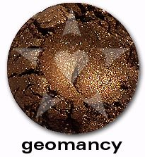 "Geomancy is an olive-toned bronzey cocoa shimmer with a smokey undertone and sparkles of copper. From Aromaleigh's metallic mineral eyeshadow collection, ""ALCHEMIE"", based on v1's ""Elemental Lustre""."