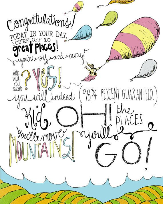 "Dr. Seuss ""Oh the Places You Will / You'll Go"" 8x10 Wall print hand drawn illustration inspirational quote graduation gift"