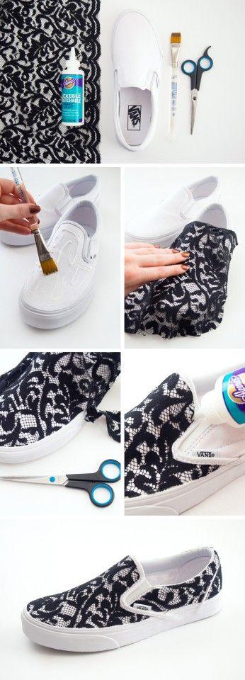 14 DIY Sneakers Ideas-DIY Lace Sneakers. Love. Daily update on my site: myfavoritediy.net