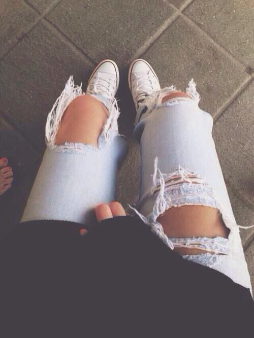 I don't know. I've never been a fan of ripped jeans but I'm started to think they're cute...is that a sin? What do you guys think?