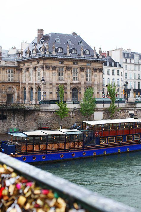 Seine River and the Love Locks Bridge, Paris, France