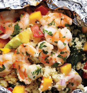 Grilled Shrimp With Avocado-Mango Salsa --made in foil (bake in oven)