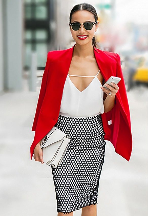 Silky camisole, bright red blazer, and black mesh pencil skirt make for an amazing day to night outfit. // #Fashion