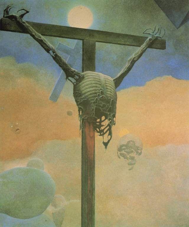 Zdzislaw Beksinski  - Rotting Corpse on Cross