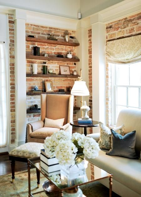LOVE this open shelving over the exposed brick walls. #homeinspiration