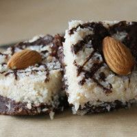 Lo fat healthy desert,Chocolate Fudge Coconut Bars, paleo friendly