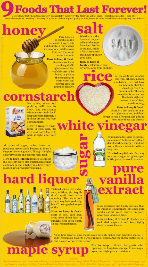 9 Foods That Last Forever - honey, salt, cornstarch, rice - who knew?!