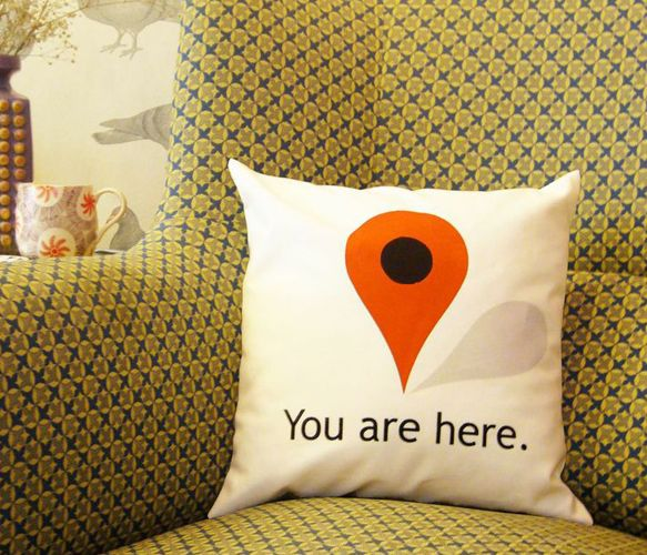 You are here humour cushion