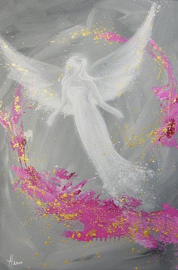 """Limited angel art poster """"Luck"""", modern contemporary angel painting, artwork, print, glossy photo❤️"""