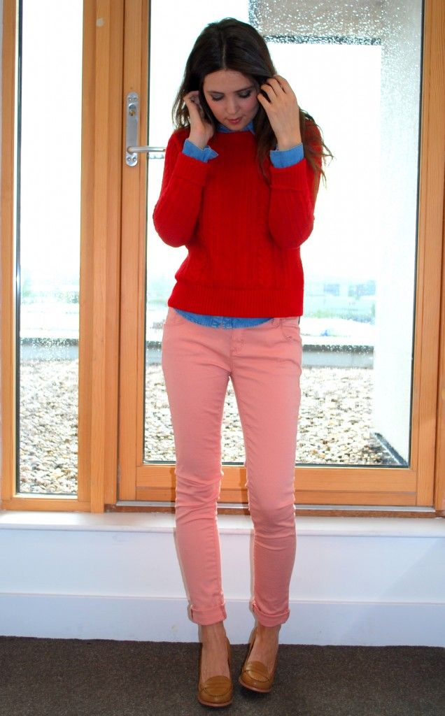 pink jeans red jumper