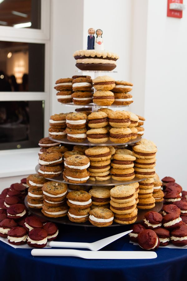 Alternative to wedding cake ~ whoopie pie tower! From Bethany & Rob's silly, modern Northern Virginia Arts Center wedding by Michelle VanTine Photography