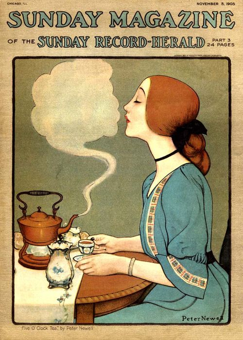 """Five o'clock Tea - by Edward Newell"" - Cover of The Sunday Magazine - November 5, 1905 -- (edwardian era)"