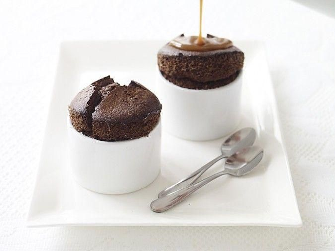Valentine's Day Recipe for Two: Dark Chocolate Soufflés with Salted Caramel Sauce