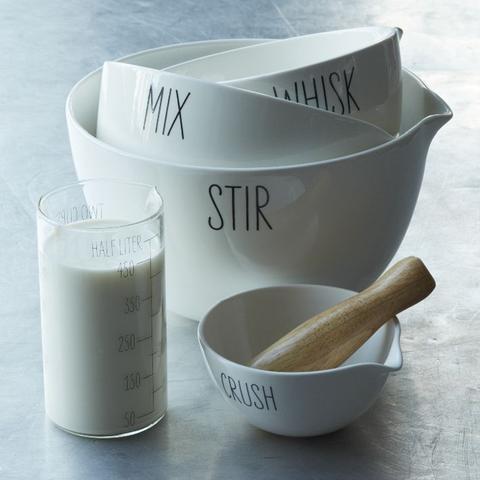 Labeled Kitchen Mixing Bowl Set