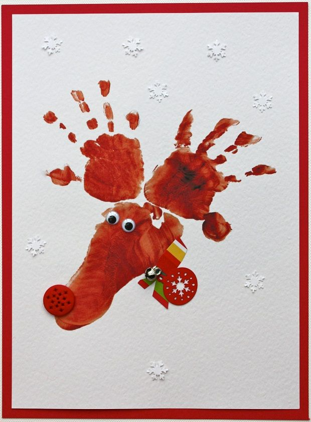 Hand & Footprint Reindeer Cards