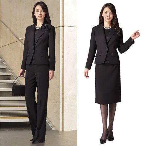 Basic black women's suit. Jacket and slacks. Jacket and skirt.