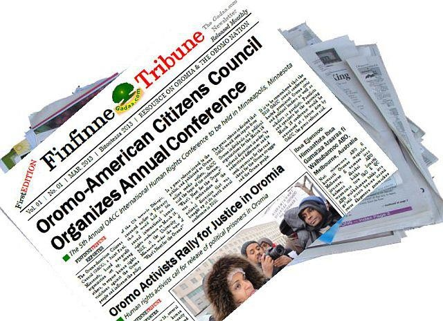 Finifinnee Tribune   A monthly bilingual electronic newsletter (e-newsletter ) covers community and civic topics that are relevant to the Oromo nation and the Horn of African region. The e-newsletter is named FinfinneTribune, and presents information in English & Oromo.    Read/share/print/distribute/email now: click here to get the first edition of FinfinneTribune (Vol. 01, No. 01, March 2013, Bitootessa 2013) - https://p2.secure.hostingprod.com/@gadaa.com/ssl/FinfinneTribune_Vol01No01.pdf