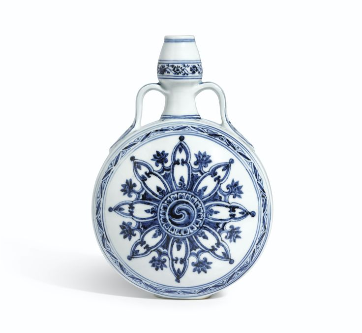 An outstanding blue and white moonflask, Ming Dynasty, Yongle Period