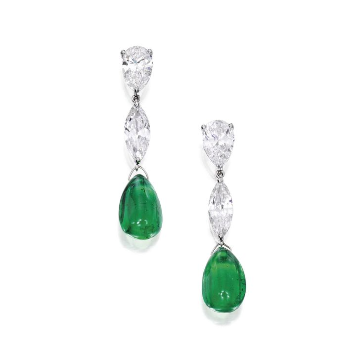 Pair of platinum, emerald and diamond earrings