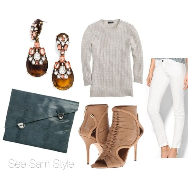 """""""Grey Cable Knit Sweater and White Jeans"""" by serdarsa on Polyvore"""