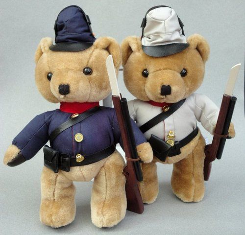 Vintage Steven Smith Soldier Teddy Bear Pair Plush Union & Confederate Army with Wooden Rifle Musket