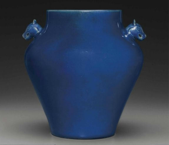 A rare Imperial ceremonial blue-glazed jar, zun, Qianlong six-character seal mark and of the period (1736-1795)