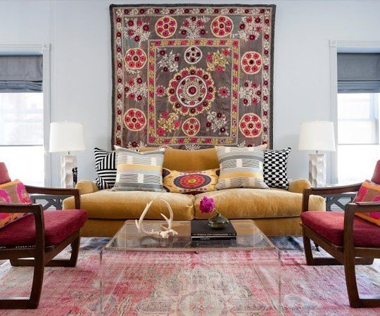 Hang a suzani tapestry as wall art