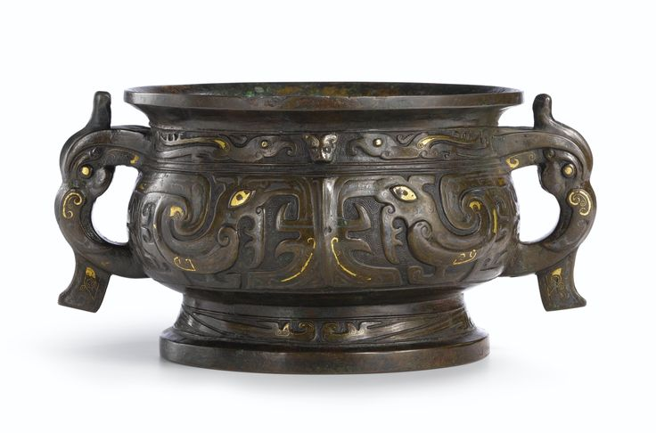 A large gold and silver-inlaid bronze incense burner, gui, Late Ming dynasty