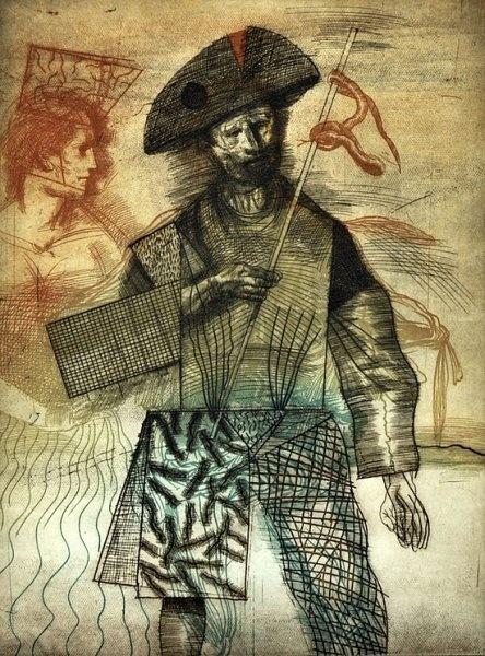 Obra de Miguel Conde en la V Cita con el grabado de @c6espacioarte
