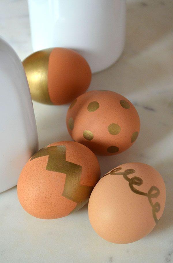 gold sharpie easter eggs