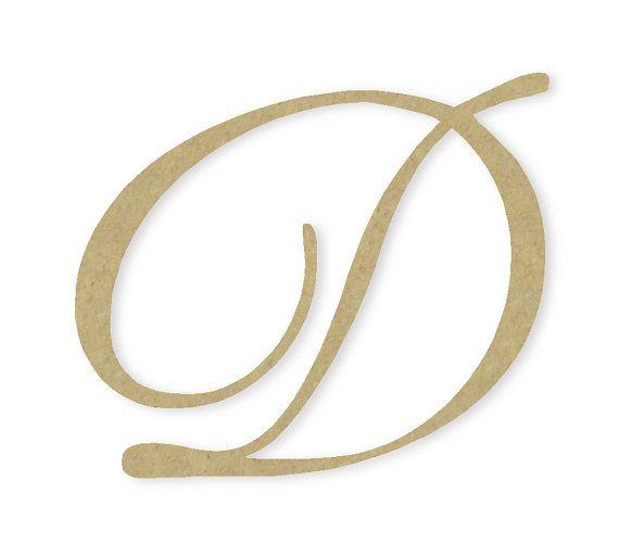 "Wooden Monogram Letter ""D"" - Large or Small, Unfinished, Cursive Wood ..."