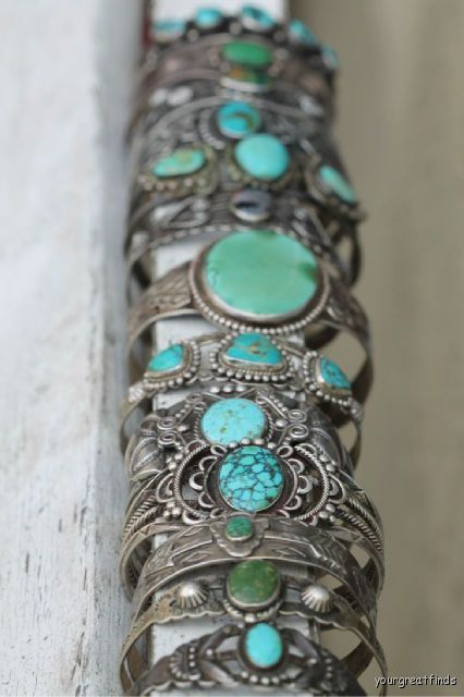 silver bohemian cuff bracelets with turquoise gemstones
