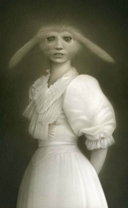 "Another creepy rabbit. :(  (Image from Odd Stuff Magazine, ""20+ Unbelievable and Odd Vintage Style Portraits"")"