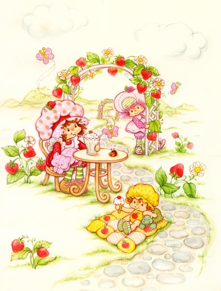 strawberry shortcake with custard and lucky bug, raspberry tart, apple dumplin' with teatime turtle