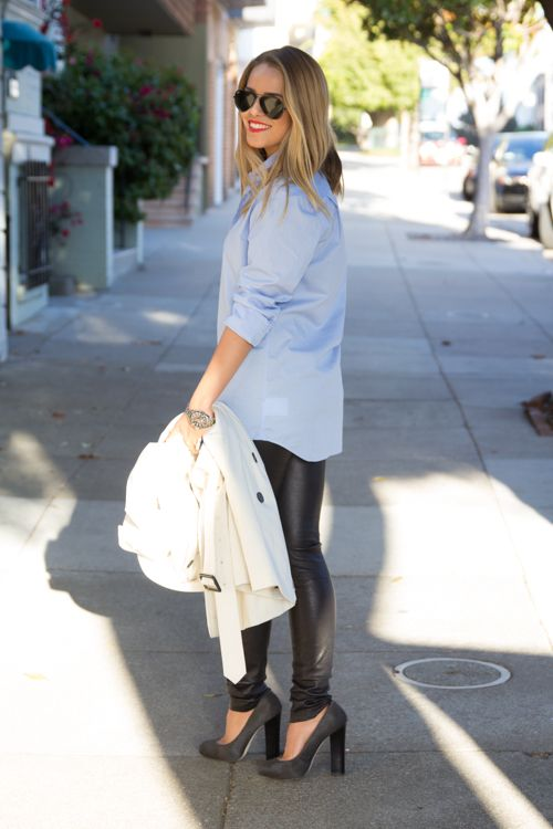 LOVE this look - I've been wondering how to wear my faux leather leggings! A Twist On The Classics