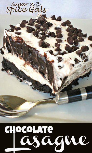 Chocolate Lasagna from www.sugar-n-spicegals.com #dessert #chocolatelasagne #favoritedessert